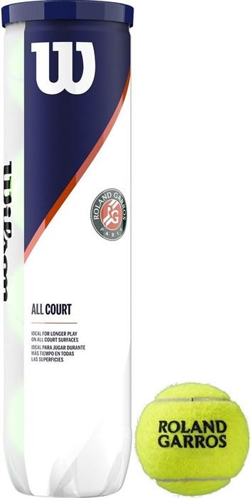 Мячи теннисные Wilson Roland Garros All Court 4 Balls  WRT116400 - фото 19394