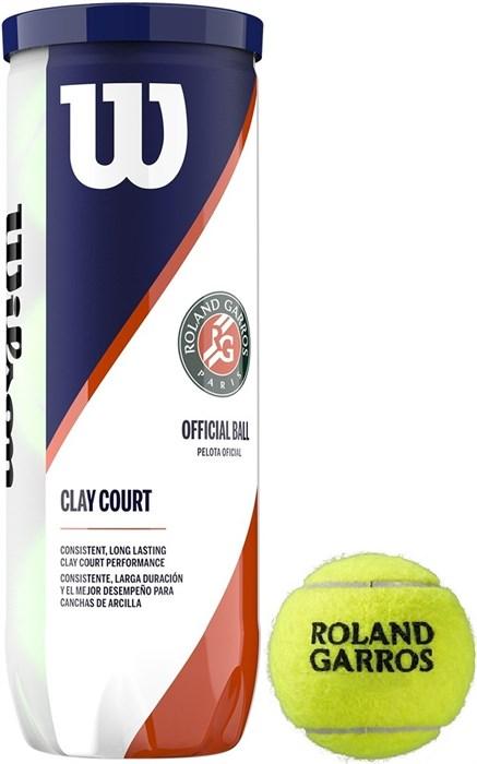 Мячи теннисные Wilson Roland Garros Clay 3 Balls  WRT125000 - фото 19400