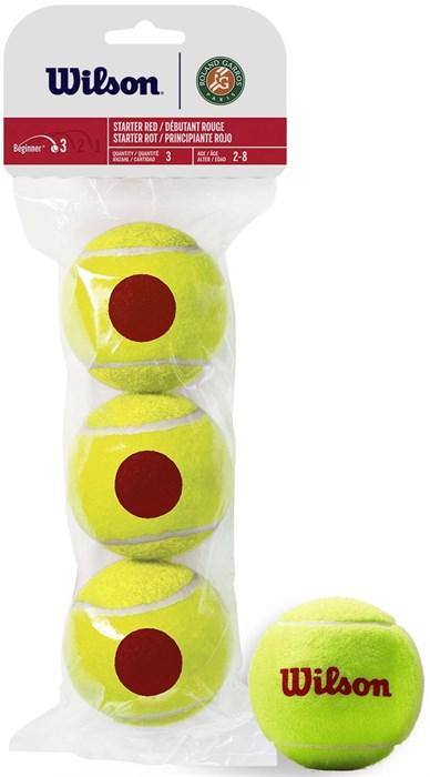 Мячи теннисные детские Wilson Starter Red Roland Garros 3 Balls  WRT147600 - фото 19669