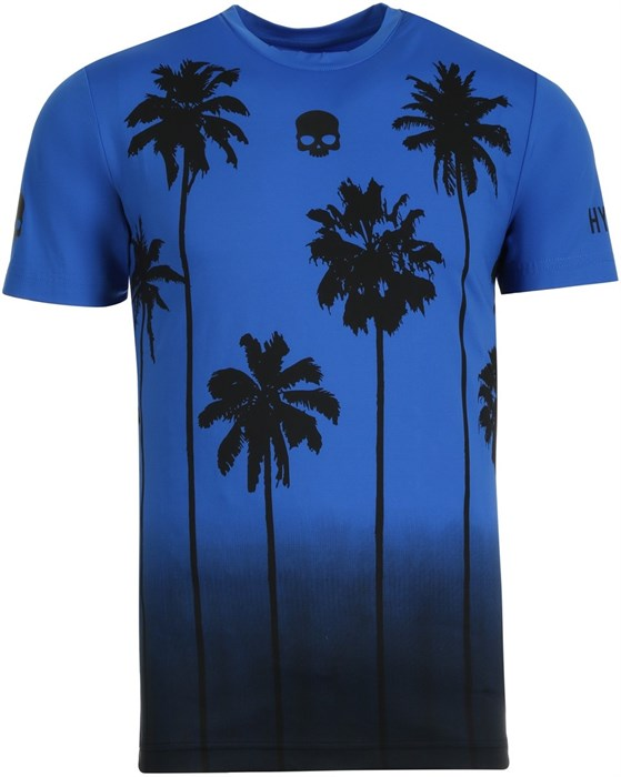 Футболка мужская Hydrogen Palm Tech Blue/Black  T00416-014 - фото 22463