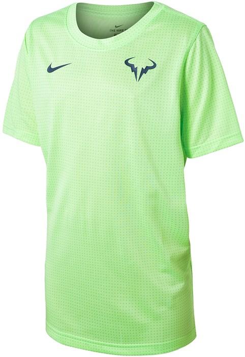 Футболка для мальчиков Nike Court Rafa Crew Lime Glow/Obsidian DD2304-345  sp21 - фото 24108