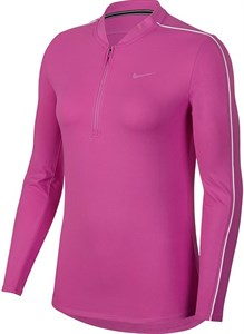 Футболка женская Nike Court Dry 1/2 Zip Active Fuchsia/White  939322-623  sp19