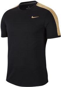 Футболка мужская Nike Court Graphic Crew Black/Metallic Gold  AT4305-011  ho19