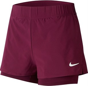 Шорты женские Nike Court Flex Bordeaux/White  939312-610  fa19